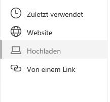 Screenshot der Auswahl des Dateispeicherorts in Sharepoint.