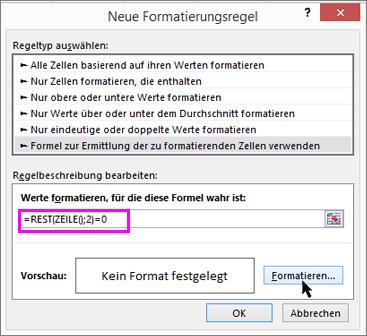 Bedingte Formatierung, Dialogfeld 'Neue Regel'