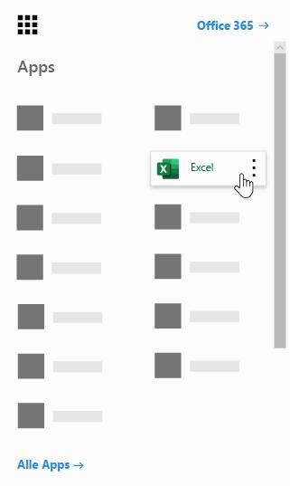 Office 365-App-Startfeld mit hervorgehobener Excel-App