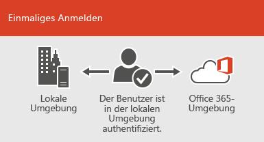 Bei der einmaligen Anmeldung steht dasselbe Konto in der lokalen und der Onlineumgebung zur Verfügung.