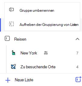 """Screenshot des Menüs """"Listengruppe bearbeiten"""" mit der Option zum Umbenennen von Gruppen-oder Aufheben der Gruppierung von Listen."""