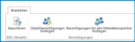 Ein Screenshot des Menübands 'Bearbeiten' in den Business Connectivity-Einstellungen mit der Schaltfläche 'Importieren' für BDC-Modelle und Berechtigungseinstellungen.