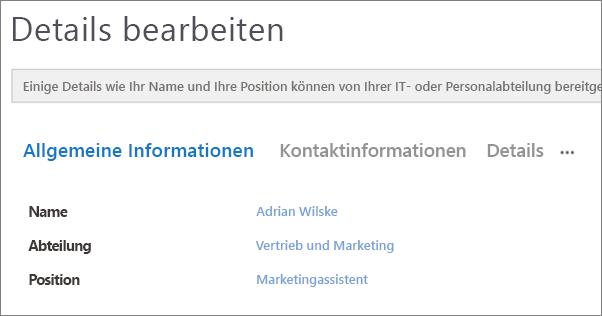 """Screenshot der Seite """"Details bearbeiten"""" für einen Benutzer in Yammer."""