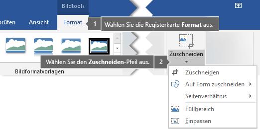 Schaltfläche 'Zuschneiden' auf der Registerkarte 'Format' unter 'Bildtools'