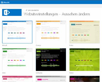Beispiel für die zur Anpassung Ihrer Communitywebsite verfügbaren Designs