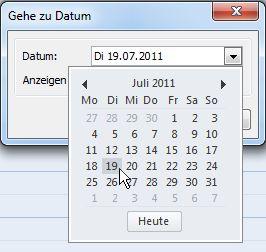 Dialogfeld 'Gehe zu Datum' mit Datumsnavigator