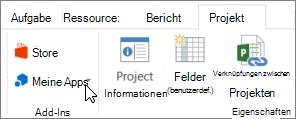 Screenshot eines Abschnitts der Registerkarte ' Projekt ' auf der Multifunktionsleiste mit einem Cursor auf meine Apps. Wählen Sie aus, wählen Sie eine zuletzt verwendete app, alle Ihre apps verwalten oder im Office Store für neue apps meine Apps.