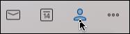 """Das Symbol """"Personen"""" in Outlook für Mac."""