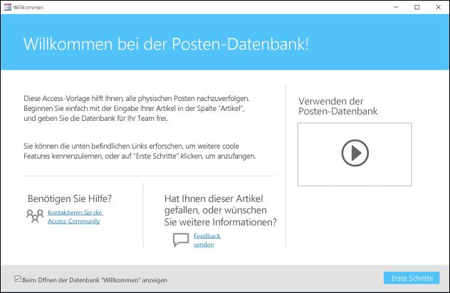 """Formular für die Ersten Schritte in einer Access-Datenbankvorlage """"Posten"""""""