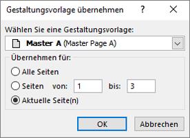 Ein Screenshot zeigt das Dialogfeld Gestaltungsvorlage übernehmen.