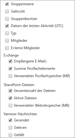 "Bericht ""Office 365-Gruppen"" – Spalten auswählen"