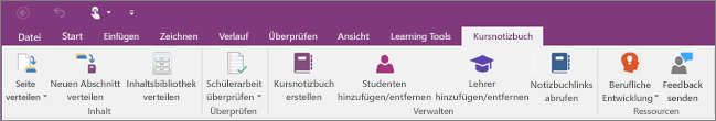 "Registerkarte ""Kursnotizbuch""."