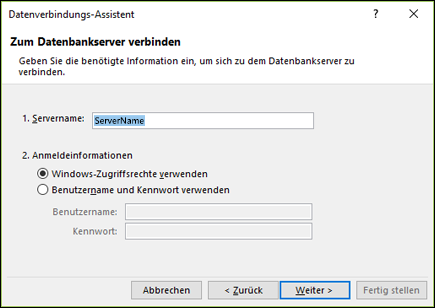 Datenverbindungs-Assistenten > mit Server verbinden