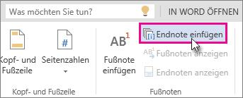 Schaltfläche 'Endnote einfügen' in Word Online