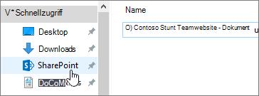Synchronisierter SharePoint-Ordner auf Ihrem PC, SharePoint ausgewählt