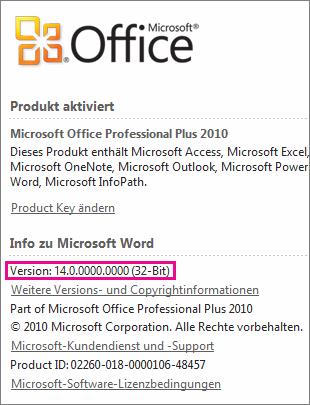 Office-Versionsnummer