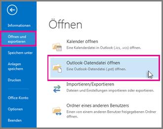 Öffnen einer Outlook-Datendatei