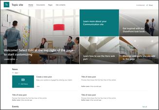 Abbildung der Vorlage für eine Kommunikationswebsite des Themas