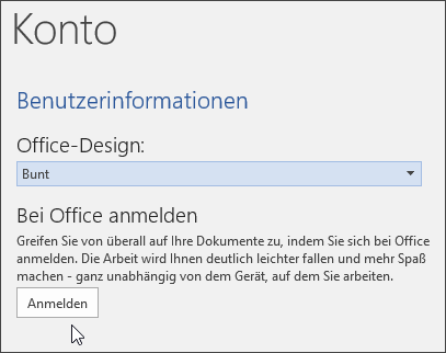 "Screenshot mit ""Kontoinformationen"" in Word"