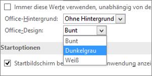"""Dropdownmenü """"Office-Design"""" mit den Designoptionen """"Farbig"""", """"Dunkelgrau"""" und """"Weiß"""""""