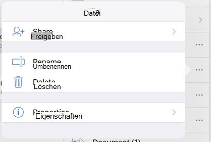 """Benennen Sie die Datei um, indem Sie auf die Schaltfläche """"3 Punkte"""" tippen und """"umbenennen"""" auswählen"""