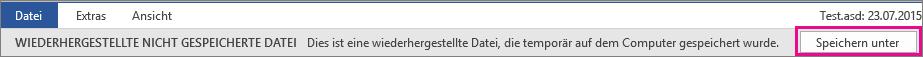 Speichern einer wiederhergestellten Datei in Office 2016