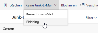 """Ein Screenshot der Schaltfläche """"Phishing"""" im Dropdownmenü """"Keine Junk-E-Mail"""""""
