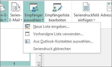 Optionen der Schaltfläche 'Sendungen - Empfänger auswählen'
