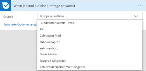 Screenshot: Auswählen einer Gruppe