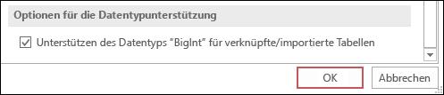 """Screenshot der ausgewählten Option """"Datentyp 'Große Ganzzahl' (BigInt) für verknüpfte/importierte Tabellen unterstützen"""" in den Access-Optionen"""
