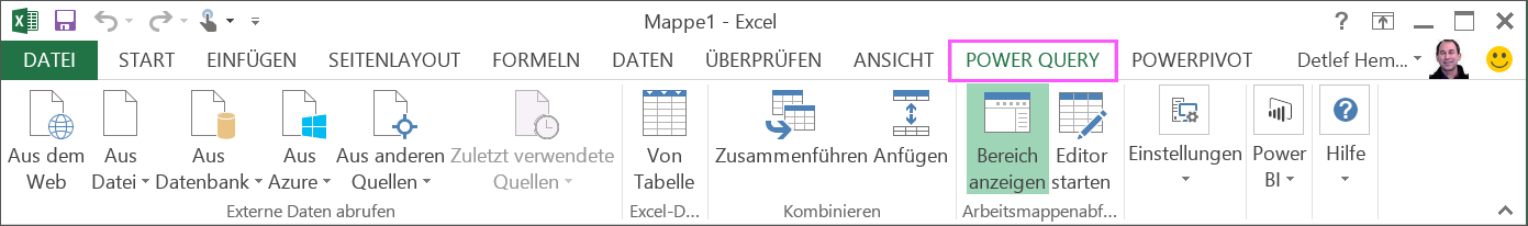 Power Query-Menüband