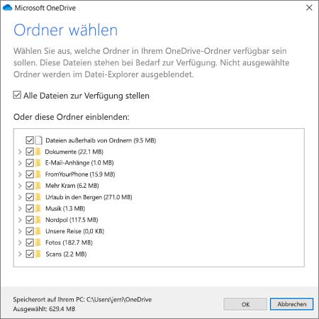 Synchronisieren von Dateien von OneDrive