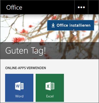 """Screenshot mit der Schaltfläche """"Office installieren"""" Office"""