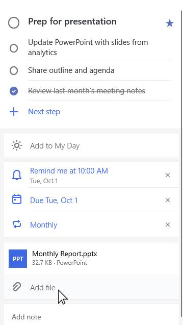 Detail Ansicht des Vorgangs vorbereiten für Präsentation mit Monatsbericht. pptx angefügt und Option zum Hinzufügen einer Datei ausgewählt