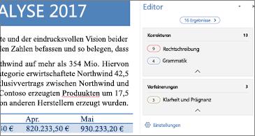 Editorbereich mit Rechtschreibproblemen, die in einem geöffneten Word-Dokument korrigiert werden sollen