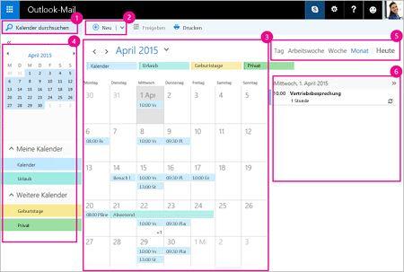Mithilfe des Kalenders können Sie Ihre Besprechungen und andere Ereignisse verwalten.