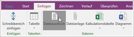 """Screenshot der Schaltfläche """"Dateiausdruck"""" in OneNote 2016"""