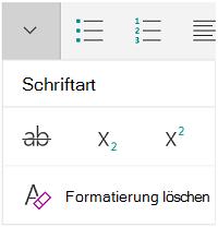 """Menü """"Schriftart"""""""