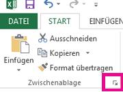 """Das Startprogramm für die Zwischenablage befindet sich auf der Registerkarte """"Start"""" unten rechts in der Gruppe """"Zwischenablage""""."""