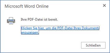 Word Online-Dialogfeld 'Drucken'