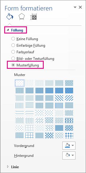 """Auswählen der Musterfüllung im Bereich """"Form formatieren"""""""
