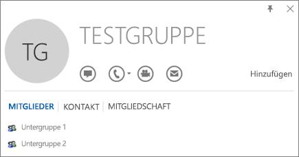 """Screenshot der Registerkarte """"Mitglieder"""" auf der Outlook-Visitenkarte für die Gruppe mit Namen """"Testgruppe"""" """"Untergruppe 1"""" und """"Untergruppe 2"""" werden als Mitglieder angezeigt."""