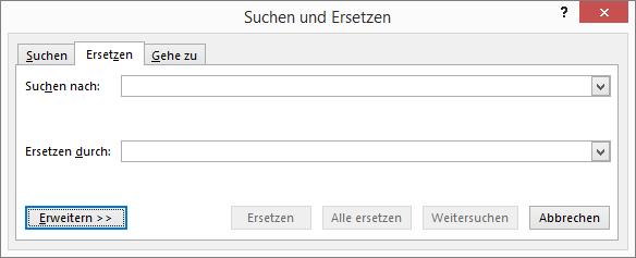 """Wählen Sie in Outlook im Dialogfeld """"Suchen und Ersetzen"""" die Schaltfläche """"Weitere"""" aus, um weitere Optionen anzuzeigen."""