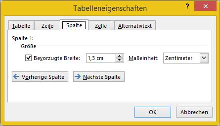"""Registerkarte """"Spalte"""" im Dialogfeld """"Tabelleneigenschaften"""""""