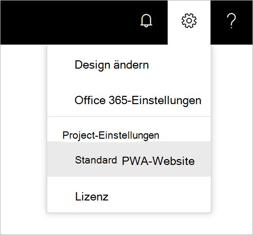 """Screenshot des Menüs """"Einstellungen"""" im Zahnradsymbol mit dem Mauszeiger zum Auswählen der standardmäßigen PWA-Website"""