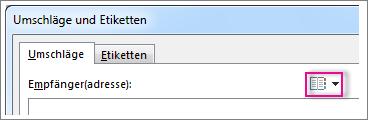 Schaltfläche 'Adresse einfügen' in Word