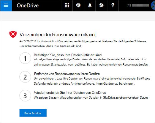 """Screenshot des Bildschirms """"Ransomware erkannt"""" auf der OneDrive-Website"""