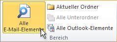 'Alle E-Mail-Elemente' im Menüband