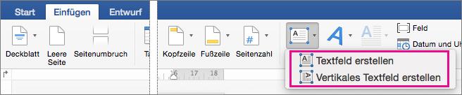 Klicken Sie auf Textfeld, um entweder ein Textfeld mit horizontalen oder vertikalen Text einzufügen.