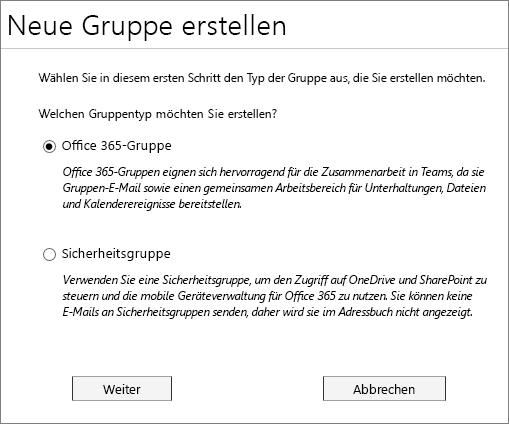 Eine neue Office 365-Gruppe oder eine neue Sicherheitsgruppe erstellen